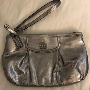 Coach Madison Gunmetal Metallic Wristlet Bag